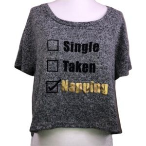 Love at First Sight Napping Gray Crop Top Size XL